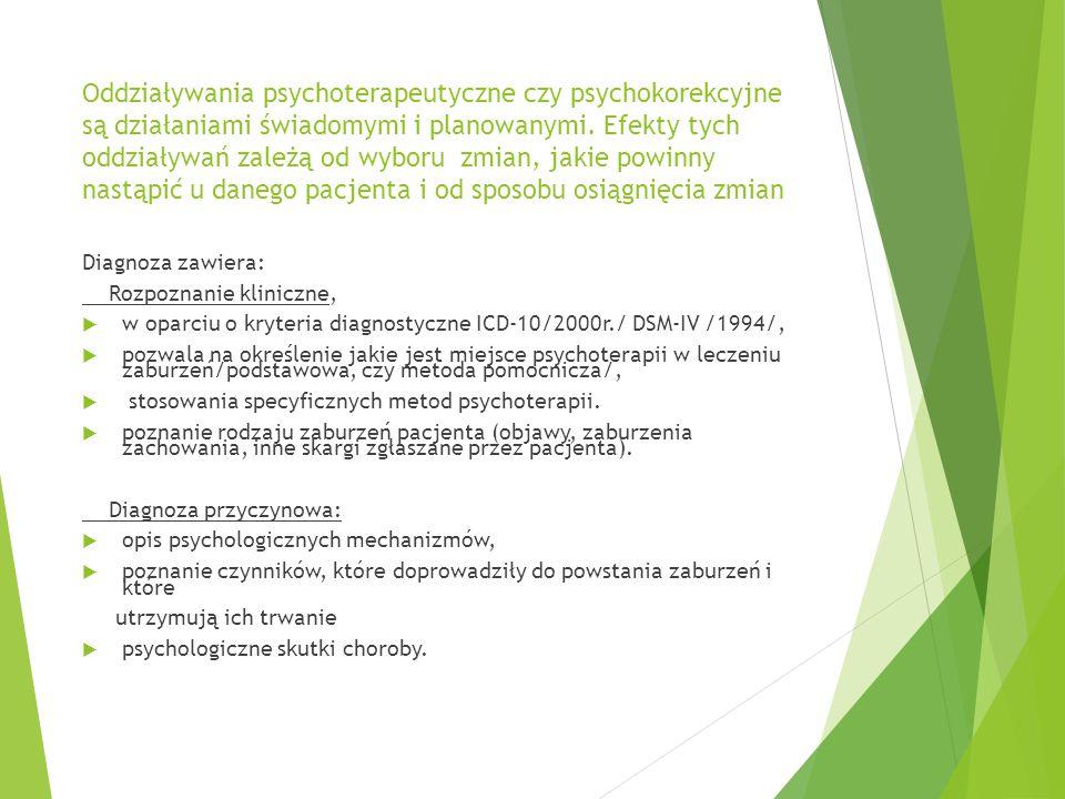 Oddziaływania psychoterapeutyczne czy psychokorekcyjne są działaniami świadomymi i planowanymi.
