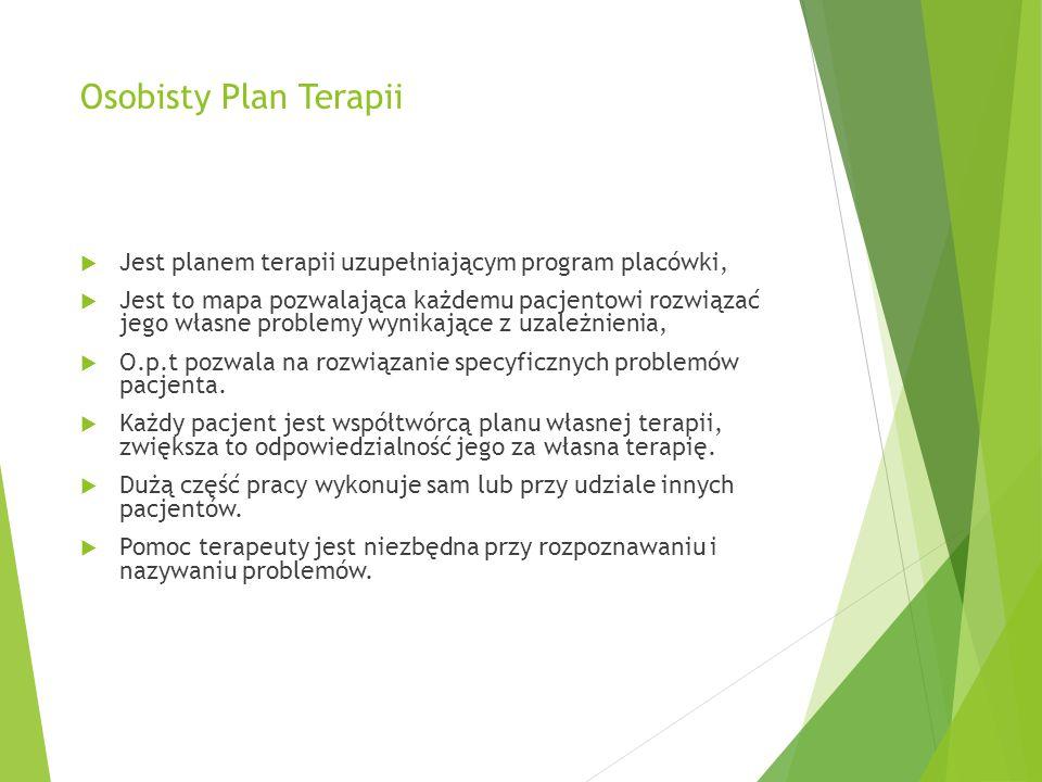 Osobisty Plan Terapii  Jest planem terapii uzupełniającym program placówki,  Jest to mapa pozwalająca każdemu pacjentowi rozwiązać jego własne problemy wynikające z uzależnienia,  O.p.t pozwala na rozwiązanie specyficznych problemów pacjenta.