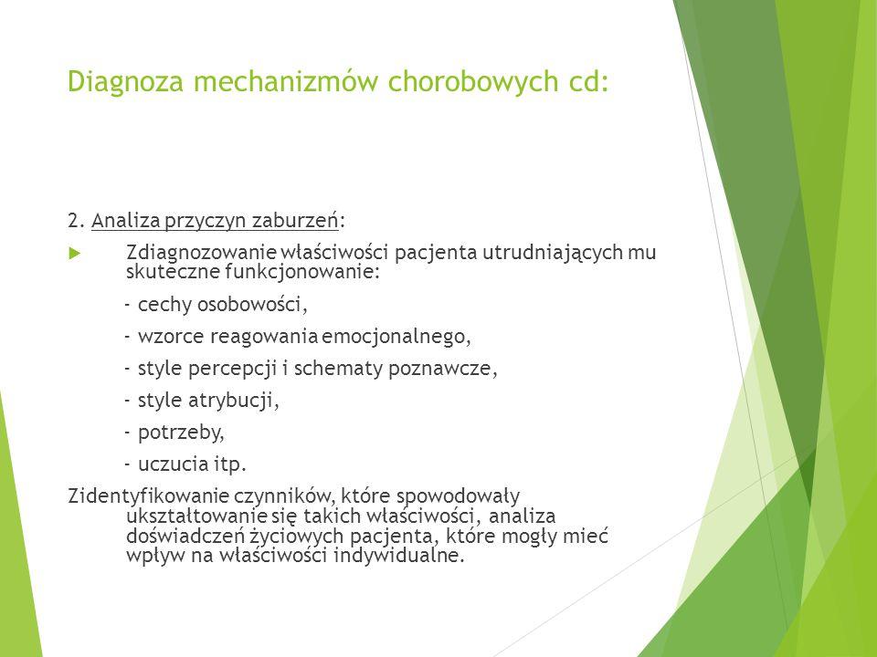 Diagnoza mechanizmów chorobowych cd: 2.