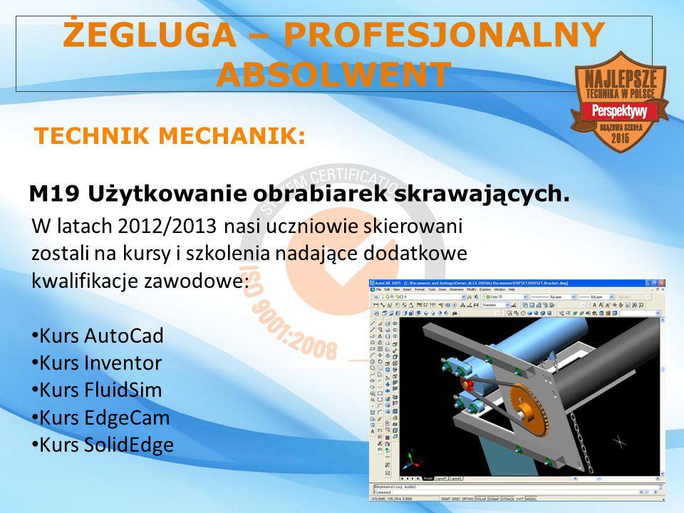 ŻEGLUGA – PROFESJONALNY ABSOLWENT TECHNIK MECHANIK: M19 Użytkowanie obrabiarek skrawających. W latach 2012/2013 nasi uczniowie skierowani zostali na k