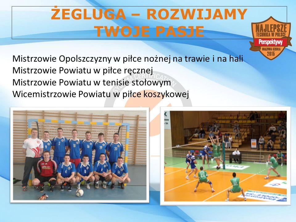 ŻEGLUGA – ROZWIJAMY TWOJE PASJE Mistrzowie Opolszczyzny w piłce nożnej na trawie i na hali Mistrzowie Powiatu w piłce ręcznej Mistrzowie Powiatu w ten