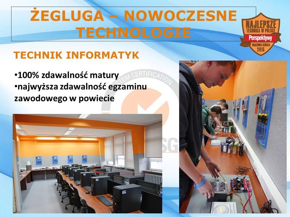 ŻEGLUGA – NOWOCZESNE TECHNOLOGIE TECHNIK INFORMATYK 100% zdawalność matury najwyższa zdawalność egzaminu zawodowego w powiecie