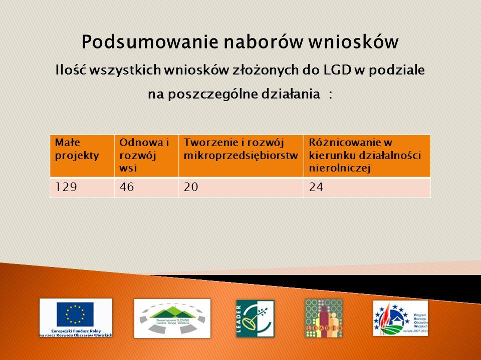 Podsumowanie naborów wniosków Ilość wszystkich wniosków złożonych do LGD w podziale na poszczególne działania : Małe projekty Odnowa i rozwój wsi Tworzenie i rozwój mikroprzedsiębiorstw Różnicowanie w kierunku działalności nierolniczej 129462024