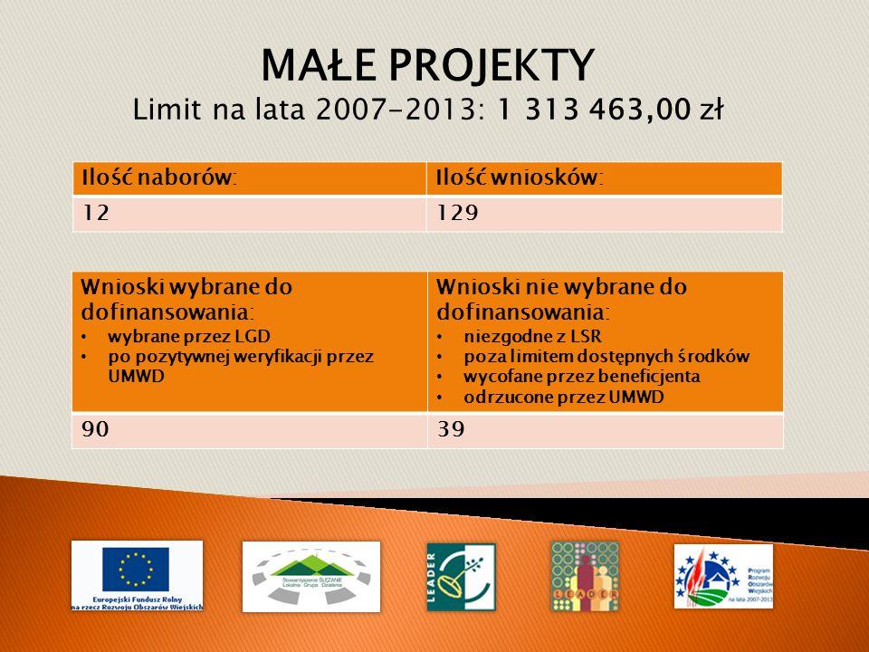MAŁE PROJEKTY Limit na lata 2007-2013: 1 313 463,00 zł Wnioski wybrane do dofinansowania: wybrane przez LGD po pozytywnej weryfikacji przez UMWD Wnioski nie wybrane do dofinansowania: niezgodne z LSR poza limitem dostępnych środków wycofane przez beneficjenta odrzucone przez UMWD 9039 Ilość naborów:Ilość wniosków: 12129