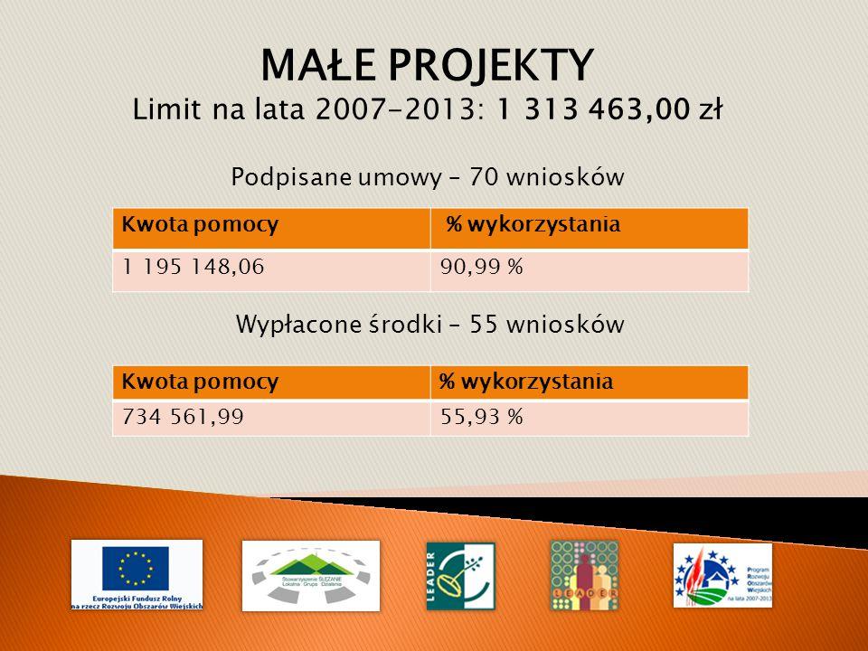 Kwota pomocy % wykorzystania 1 195 148,0690,99 % MAŁE PROJEKTY Limit na lata 2007-2013: 1 313 463,00 zł Podpisane umowy – 70 wniosków Kwota pomocy% wykorzystania 734 561,9955,93 % Wypłacone środki – 55 wniosków