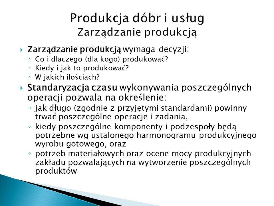  Zarządzanie produkcją wymaga decyzji: ◦ Co i dlaczego (dla kogo) produkować.
