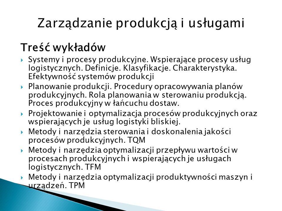 Treść wykładów  Systemy i procesy produkcyjne.Wspierające procesy usług logistycznych.