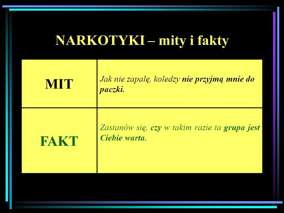 NARKOTYKI – mity i fakty MIT Jak nie zapalę, koledzy nie przyjmą mnie do paczki. FAKT Zastanów się, czy w takim razie ta grupa jest Ciebie warta.