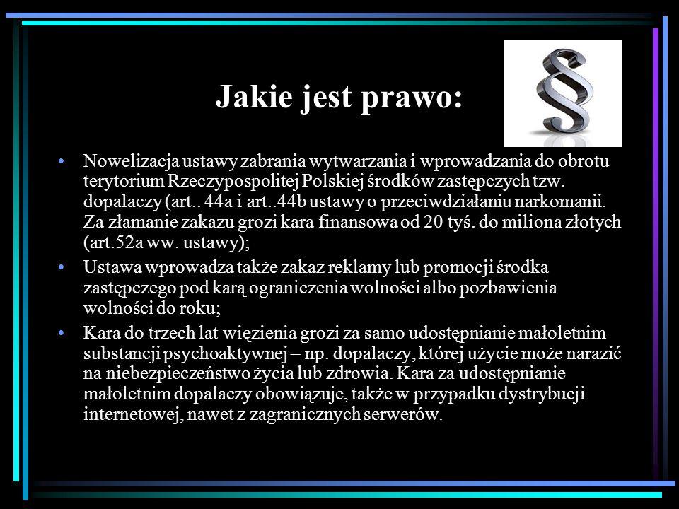 Jakie jest prawo: Nowelizacja ustawy zabrania wytwarzania i wprowadzania do obrotu terytorium Rzeczypospolitej Polskiej środków zastępczych tzw. dopal