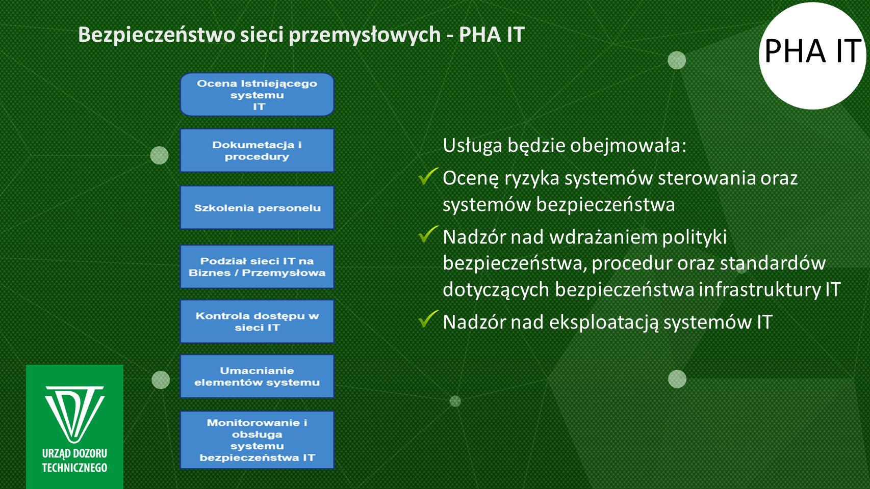 PHA IT Usługa będzie obejmowała: Ocenę ryzyka systemów sterowania oraz systemów bezpieczeństwa Nadzór nad wdrażaniem polityki bezpieczeństwa, procedur
