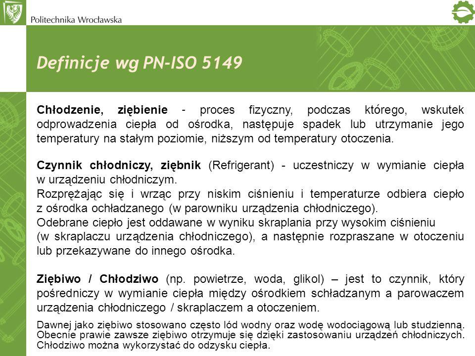 Definicje wg PN-ISO 5149 Chłodzenie, ziębienie – proces fizyczny, podczas kt ó rego, wskutek odprowadzenia ciepła od ośrodka, następuje spadek lub utr