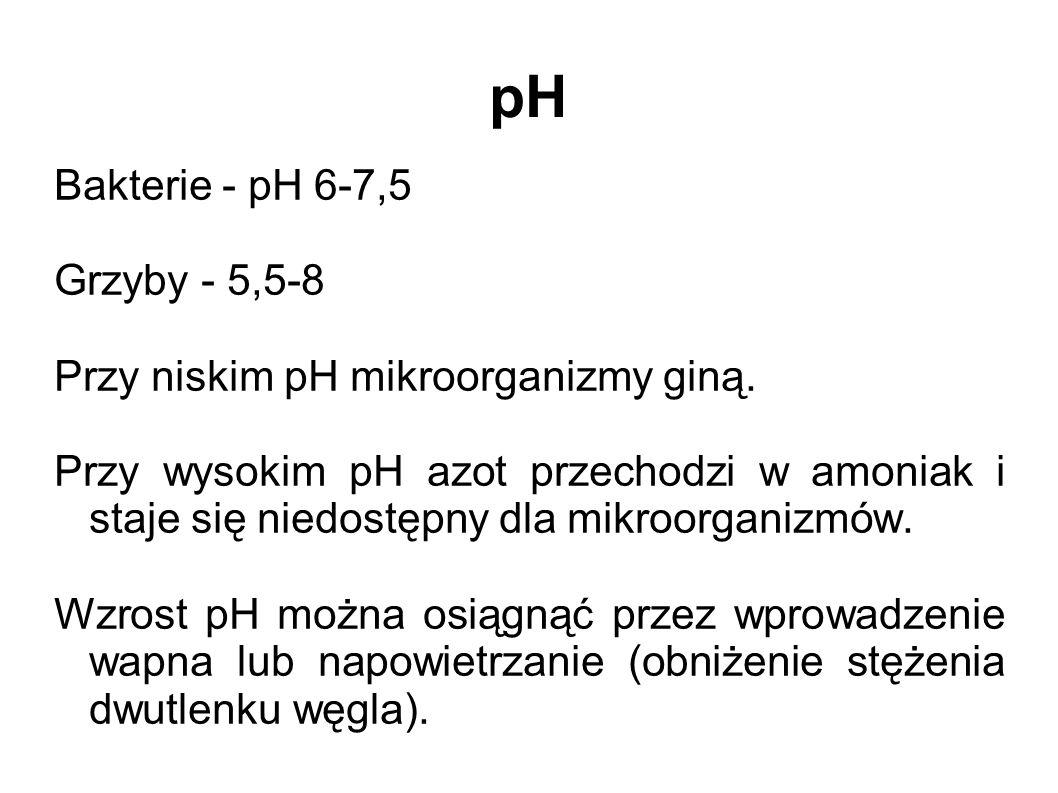 pH Bakterie - pH 6-7,5 Grzyby - 5,5-8 Przy niskim pH mikroorganizmy giną. Przy wysokim pH azot przechodzi w amoniak i staje się niedostępny dla mikroo