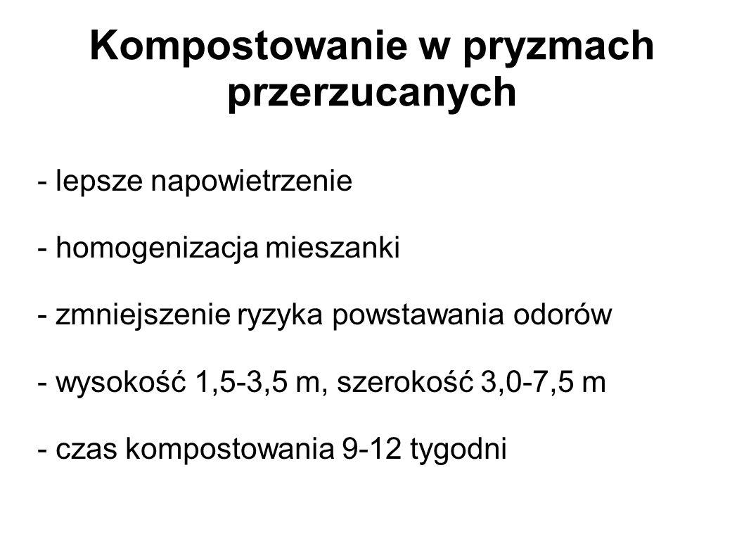 Kompostowanie w pryzmach przerzucanych - lepsze napowietrzenie - homogenizacja mieszanki - zmniejszenie ryzyka powstawania odorów - wysokość 1,5-3,5 m