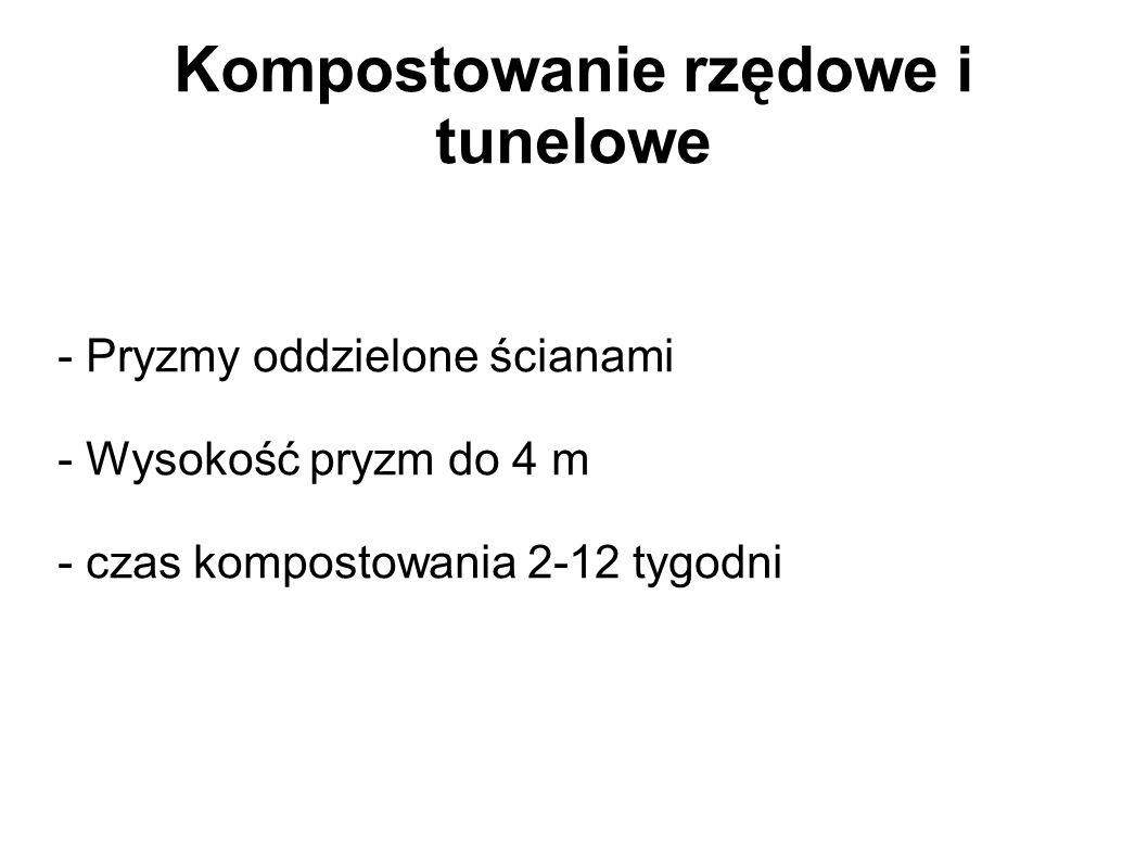 Kompostowanie rzędowe i tunelowe - Pryzmy oddzielone ścianami - Wysokość pryzm do 4 m - czas kompostowania 2-12 tygodni
