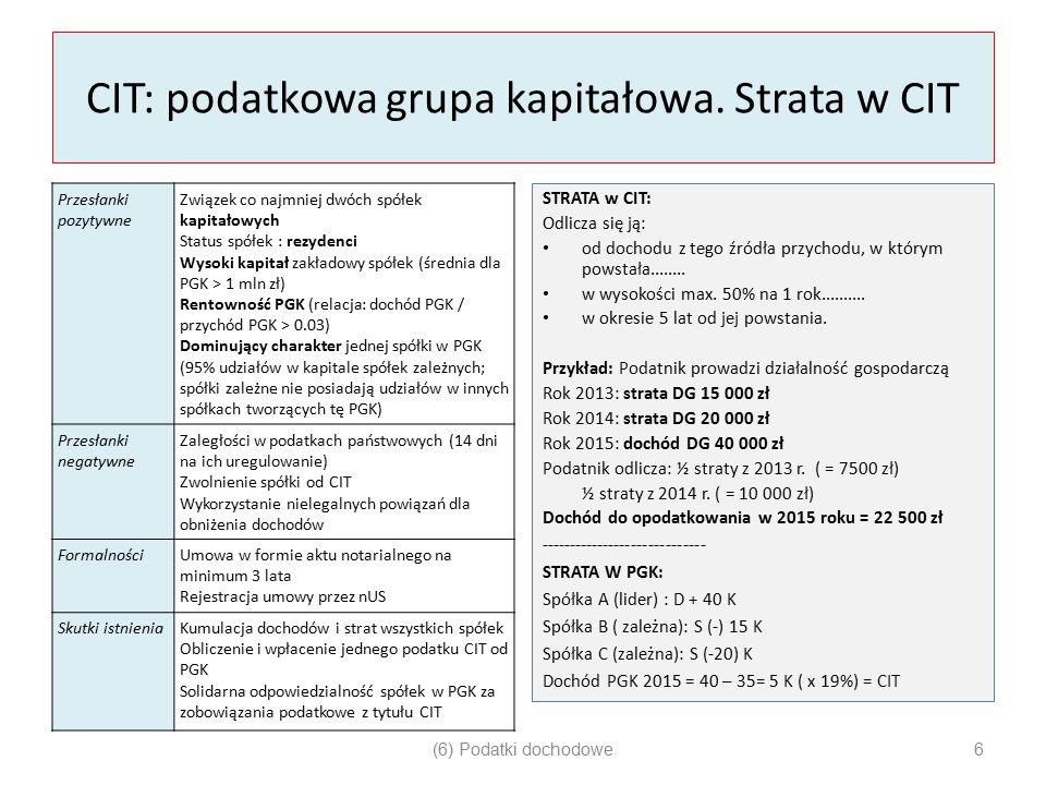 CIT: podatkowa grupa kapitałowa. Strata w CIT Przesłanki pozytywne Związek co najmniej dwóch spółek kapitałowych Status spółek : rezydenci Wysoki kapi