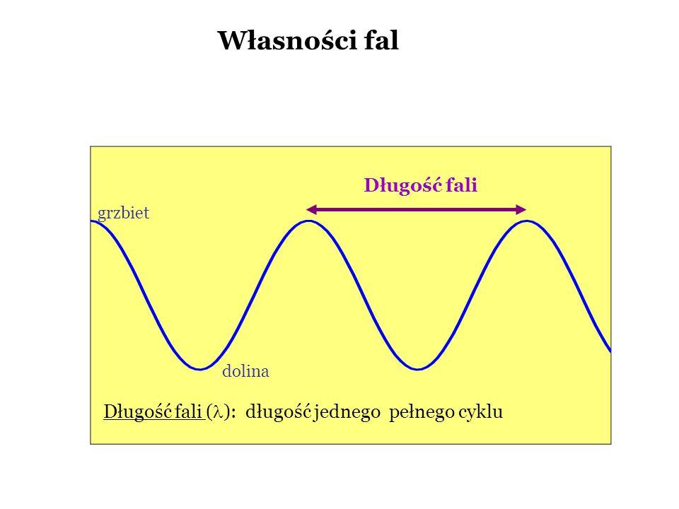 Własności fal Długość fali Długość fali ( ): długość jednego pełnego cyklu dolina grzbiet