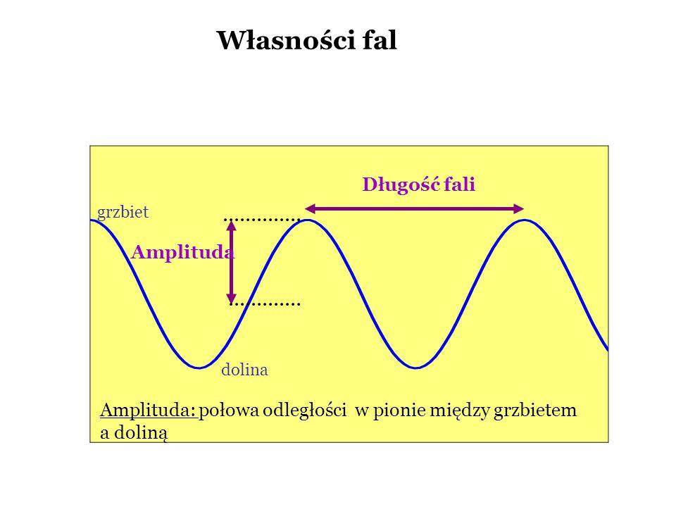 Własności fal Długość fali Amplituda: połowa odległości w pionie między grzbietem a doliną Amplituda dolina grzbiet