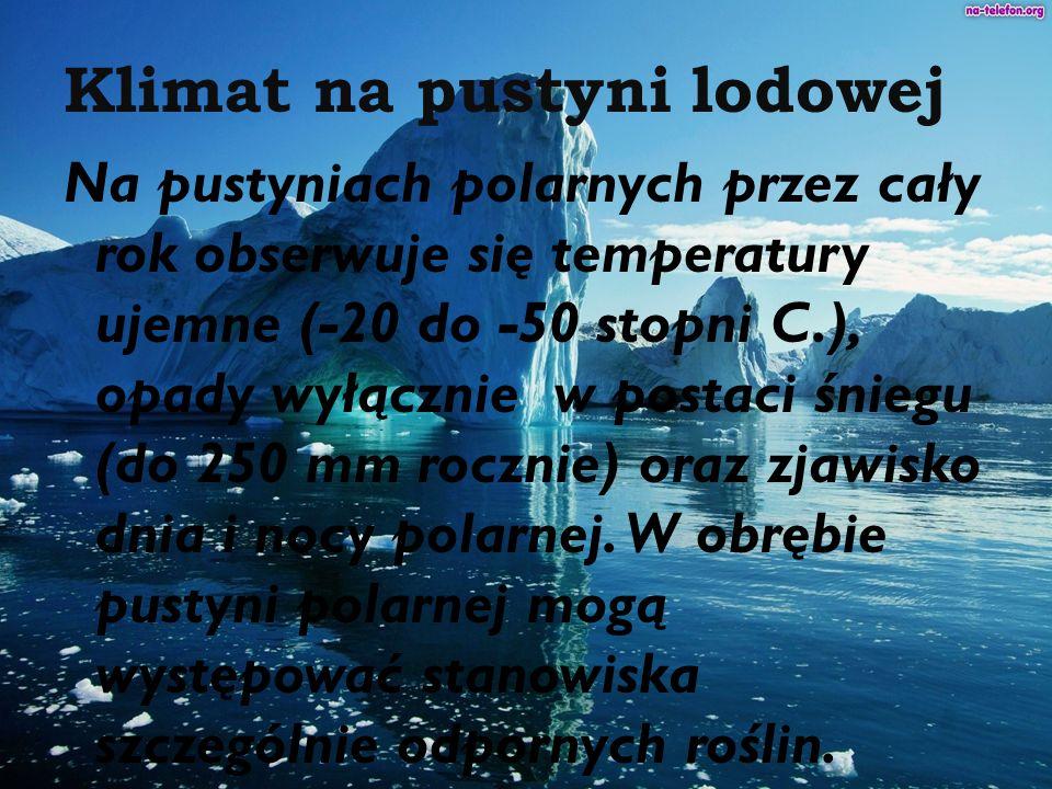 Klimat na pustyni lodowej Na pustyniach polarnych przez cały rok obserwuje się temperatury ujemne (-20 do -50 stopni C.), opady wyłącznie w postaci śn