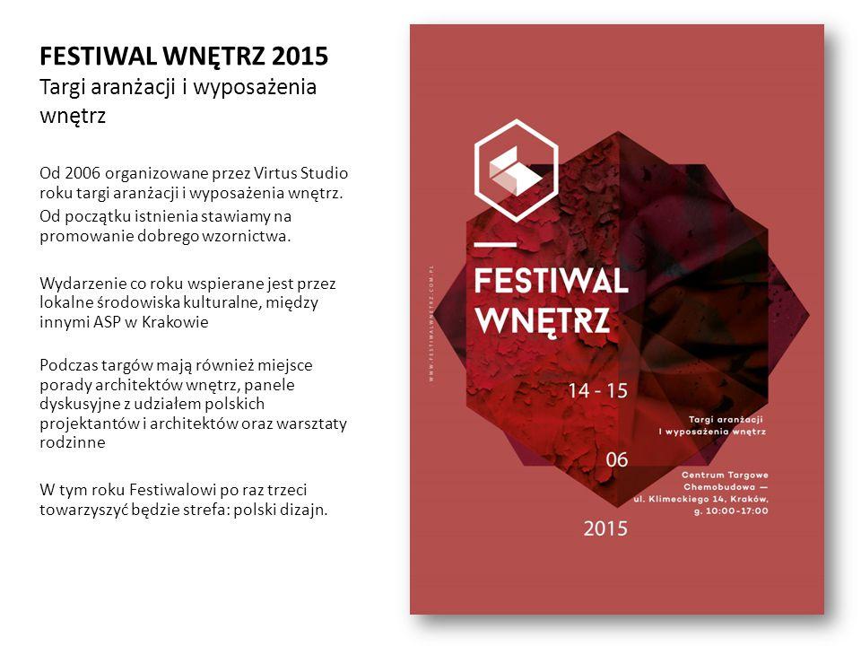FESTIWAL WNĘTRZ 2015 Targi aranżacji i wyposażenia wnętrz Od 2006 organizowane przez Virtus Studio roku targi aranżacji i wyposażenia wnętrz.
