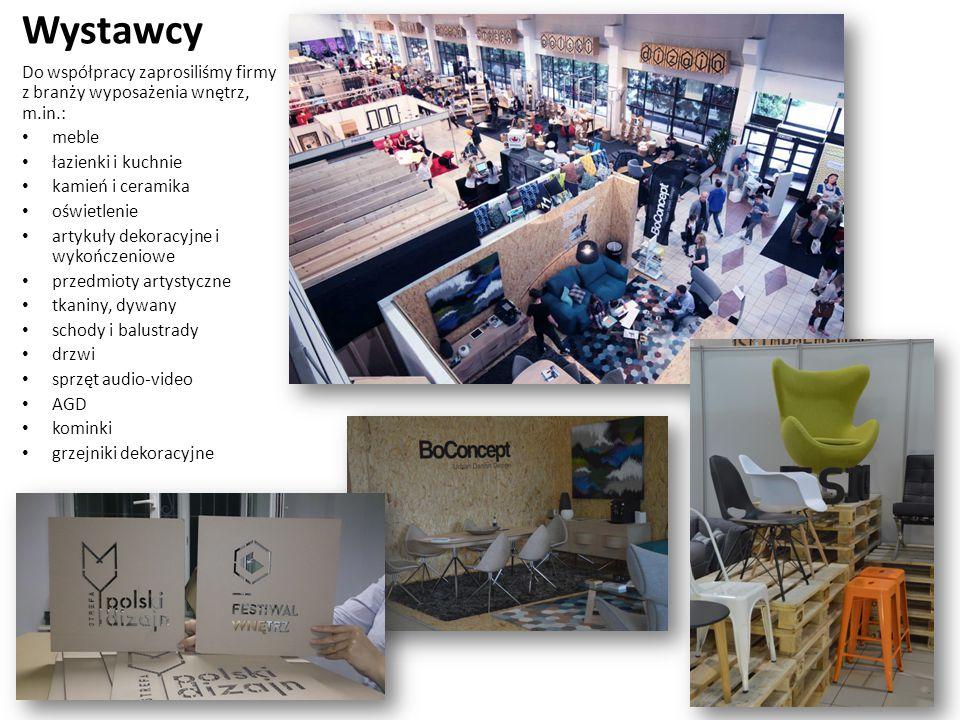 Wystawcy Do współpracy zaprosiliśmy firmy z branży wyposażenia wnętrz, m.in.: meble łazienki i kuchnie kamień i ceramika oświetlenie artykuły dekoracyjne i wykończeniowe przedmioty artystyczne tkaniny, dywany schody i balustrady drzwi sprzęt audio-video AGD kominki grzejniki dekoracyjne