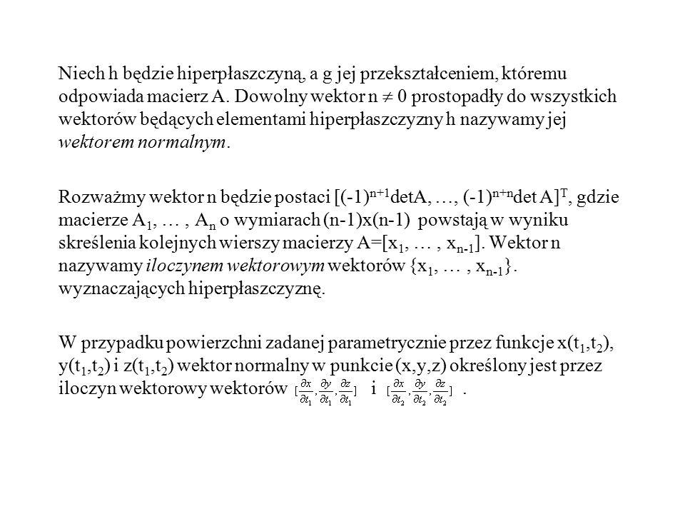 Niech h będzie hiperpłaszczyną, a g jej przekształceniem, któremu odpowiada macierz A. Dowolny wektor n  0 prostopadły do wszystkich wektorów będącyc