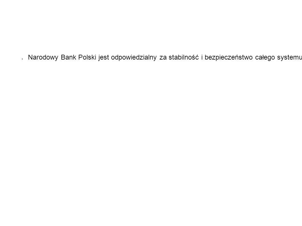 Narodowy Bank Polski jest odpowiedzialny za stabilność i bezpieczeństwo całego systemu bankowego, pełni funkcję banku banków, ponadto, nadzoruje systemy płatności w Polsce.