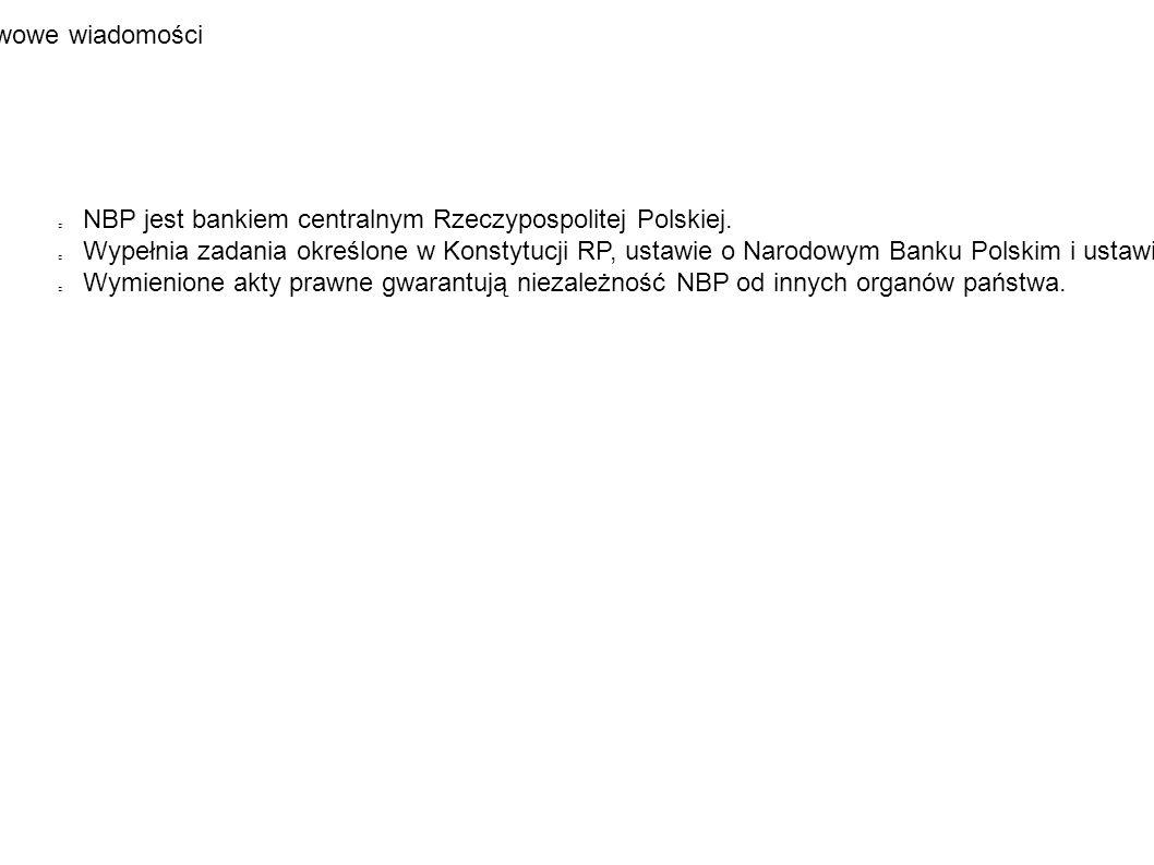 Podstawowe wiadomości NBP jest bankiem centralnym Rzeczypospolitej Polskiej.