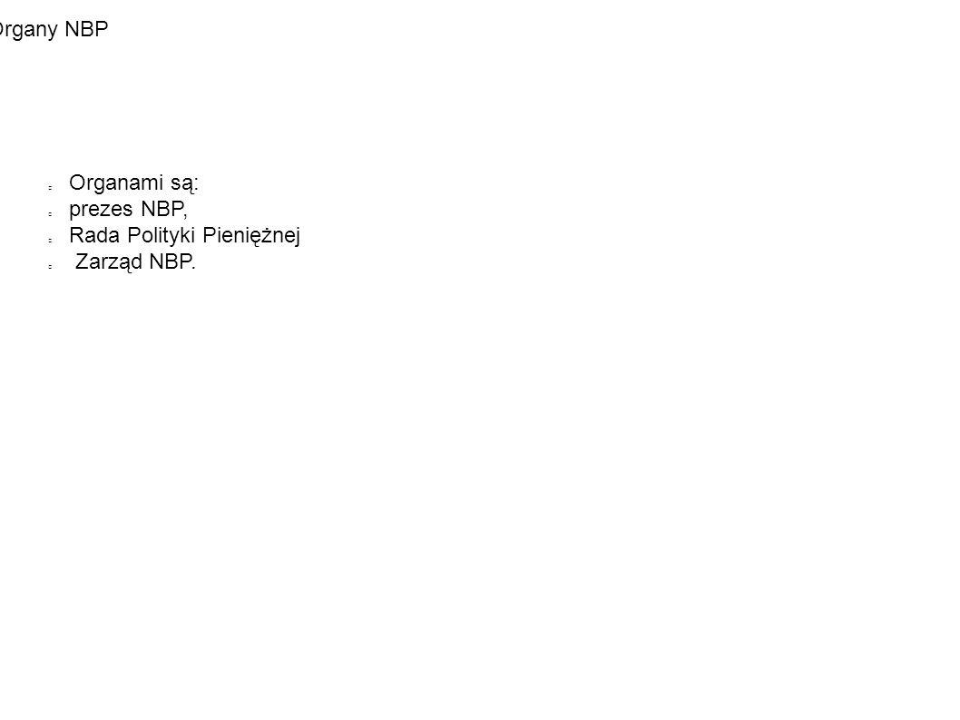 Organy NBP Organami są: prezes NBP, Rada Polityki Pieniężnej Zarząd NBP.