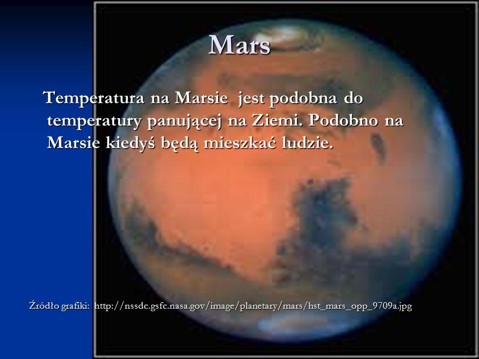 Mars Temperatura na Marsie jest podobna do temperatury panującej na Ziemi. Podobno na Marsie kiedyś będą mieszkać ludzie. Temperatura na Marsie jest p