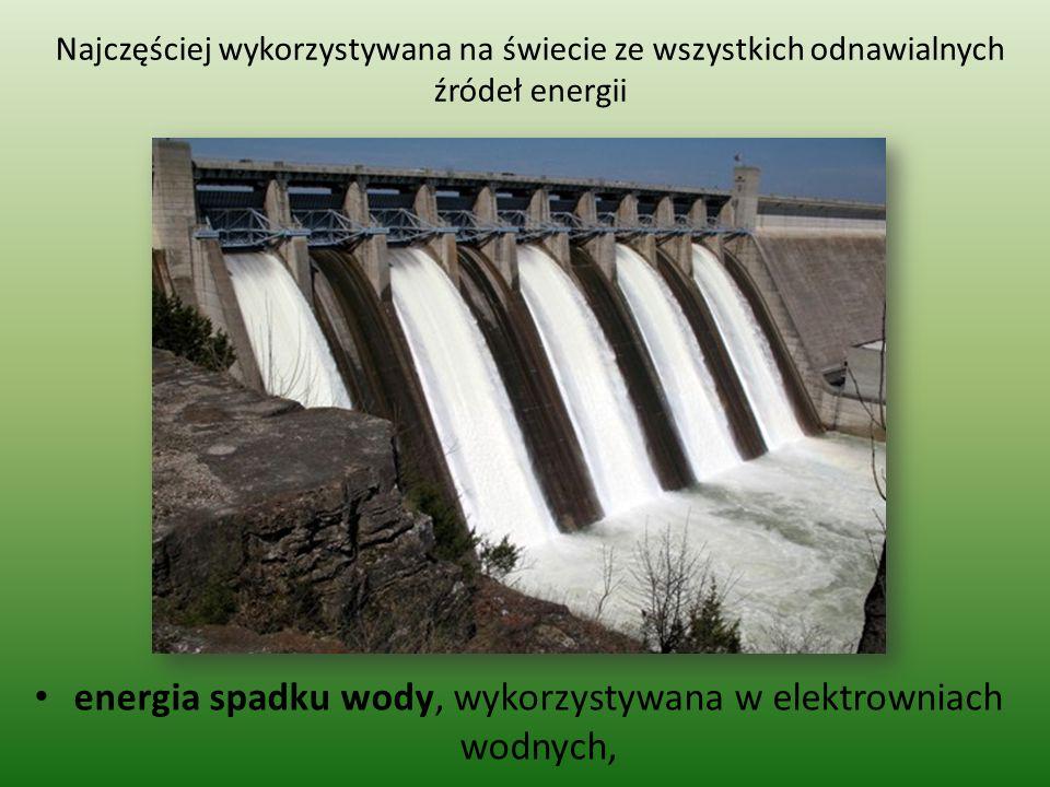 energia spadku wody, wykorzystywana w elektrowniach wodnych, Najczęściej wykorzystywana na świecie ze wszystkich odnawialnych źródeł energii