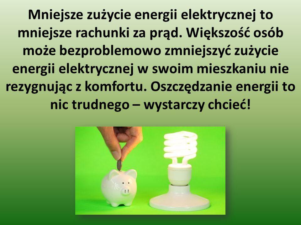 Mniejsze zużycie energii elektrycznej to mniejsze rachunki za prąd. Większość osób może bezproblemowo zmniejszyć zużycie energii elektrycznej w swoim