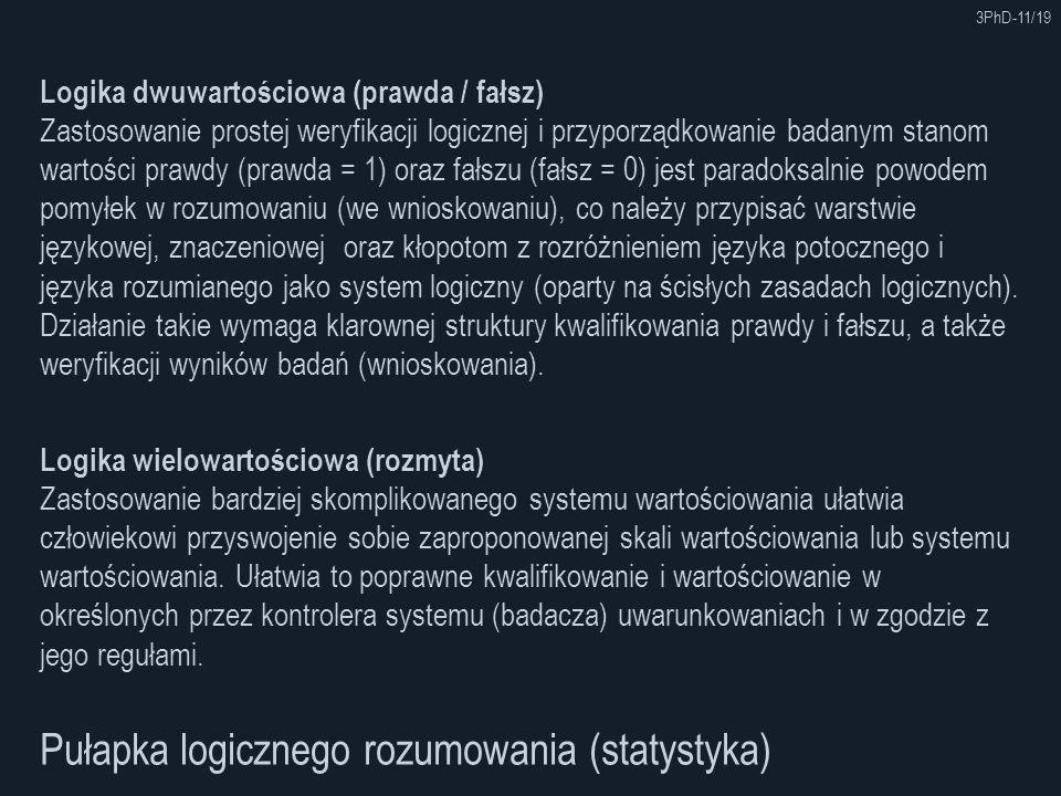 3PhD-11/19 Pułapka logicznego rozumowania (statystyka) Logika wielowartościowa (rozmyta) Zastosowanie bardziej skomplikowanego systemu wartościowania