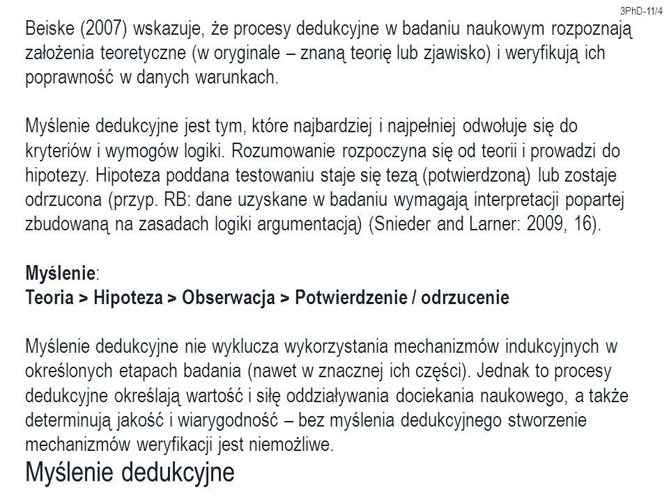 3PhD-11/4 Myślenie dedukcyjne Beiske (2007) wskazuje, że procesy dedukcyjne w badaniu naukowym rozpoznają założenia teoretyczne (w oryginale – znaną t