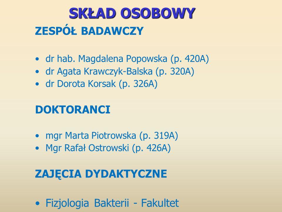 SKŁAD OSOBOWY ZESPÓŁ BADAWCZY dr hab. Magdalena Popowska (p.