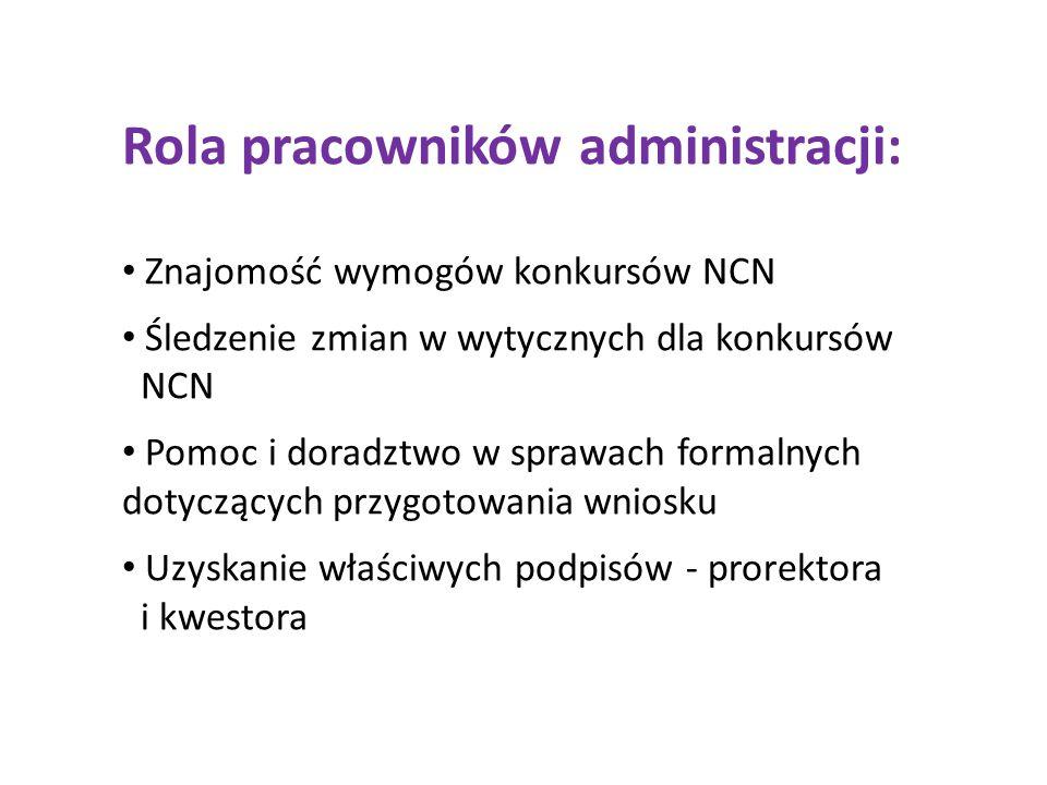 Rola pracowników administracji: Znajomość wymogów konkursów NCN Śledzenie zmian w wytycznych dla konkursów NCN Pomoc i doradztwo w sprawach formalnych