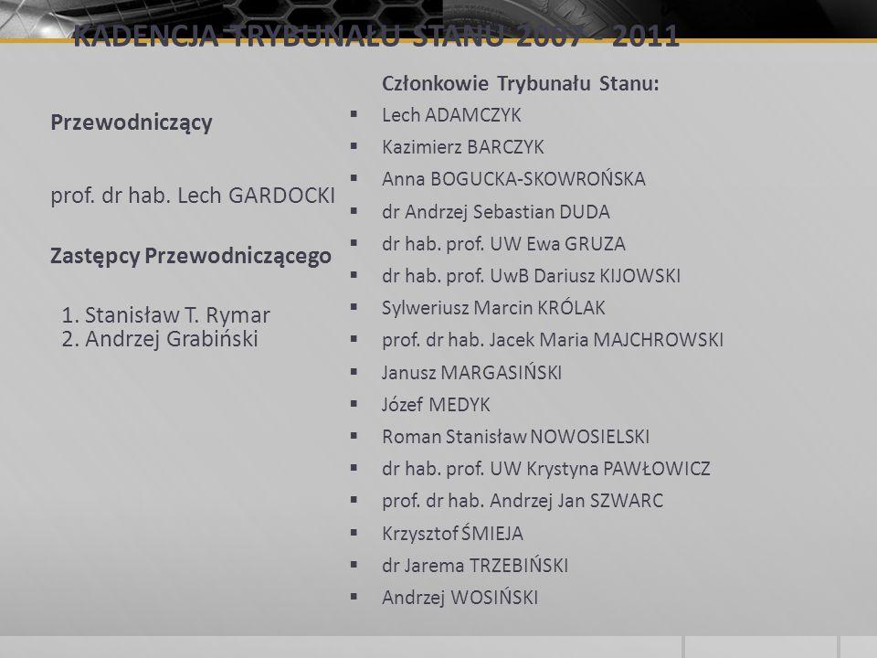 KADENCJA TRYBUNAŁU STANU 2007 - 2011 Przewodniczący prof. dr hab. Lech GARDOCKI Zastępcy Przewodniczącego 1. Stanisław T. Rymar 2. Andrzej Grabiński C