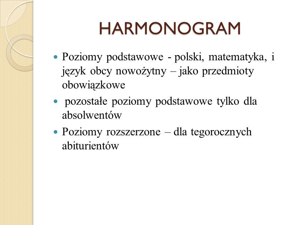 HARMONOGRAM Poziomy podstawowe - polski, matematyka, i język obcy nowożytny – jako przedmioty obowiązkowe pozostałe poziomy podstawowe tylko dla absolwentów Poziomy rozszerzone – dla tegorocznych abiturientów