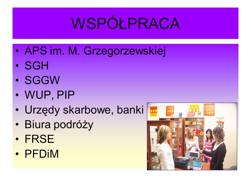 WSPÓŁPRACA APS im. M. Grzegorzewskiej SGH SGGW WUP, PIP Urzędy skarbowe, banki Biura podróży FRSE PFDiM