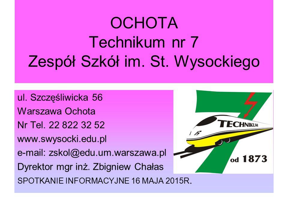 OCHOTA Technikum nr 7 Zespół Szkół im. St. Wysockiego ul. Szczęśliwicka 56 Warszawa Ochota Nr Tel. 22 822 32 52 www.swysocki.edu.pl e-mail: zskol@edu.
