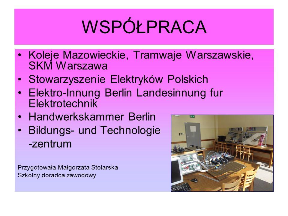 WSPÓŁPRACA Koleje Mazowieckie, Tramwaje Warszawskie, SKM Warszawa Stowarzyszenie Elektryków Polskich Elektro-Innung Berlin Landesinnung fur Elektrotec