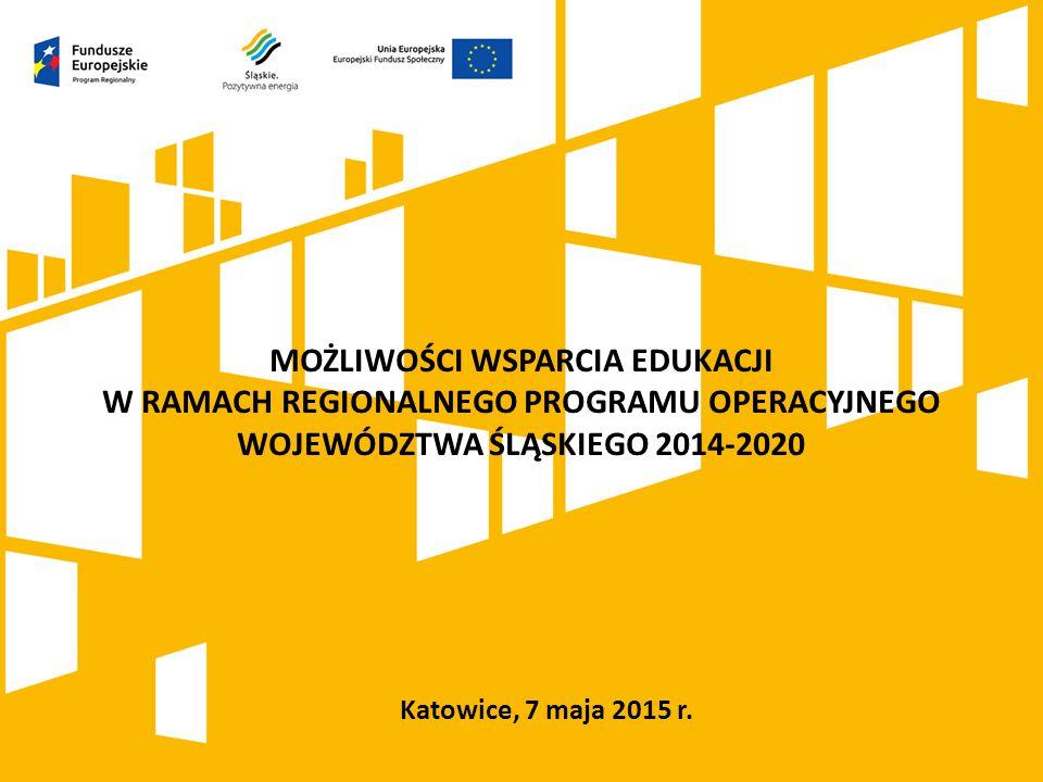 Katowice, 7 maja 2015 r. MOŻLIWOŚCI WSPARCIA EDUKACJI W RAMACH REGIONALNEGO PROGRAMU OPERACYJNEGO WOJEWÓDZTWA ŚLĄSKIEGO 2014-2020