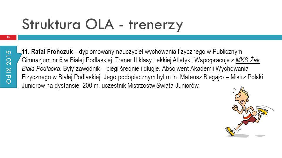 Struktura OLA - trenerzy 15 11. Rafał Frończuk – dyplomowany nauczyciel wychowania fizycznego w Publicznym Gimnazjum nr 6 w Białej Podlaskiej. Trener