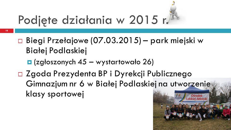 Podjęte działania w 2015 r. 18  Biegi Przełajowe (07.03.2015) – park miejski w Białej Podlaskiej  (zgłoszonych 45 – wystartowało 26)  Zgoda Prezyde