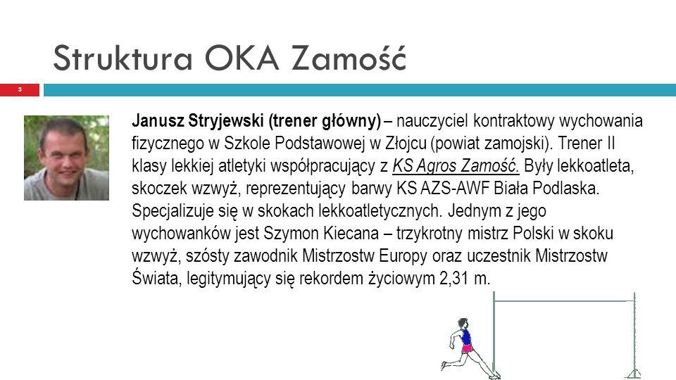Struktura OKA Zamość 3 Janusz Stryjewski (trener główny) – nauczyciel kontraktowy wychowania fizycznego w Szkole Podstawowej w Złojcu (powiat zamojski