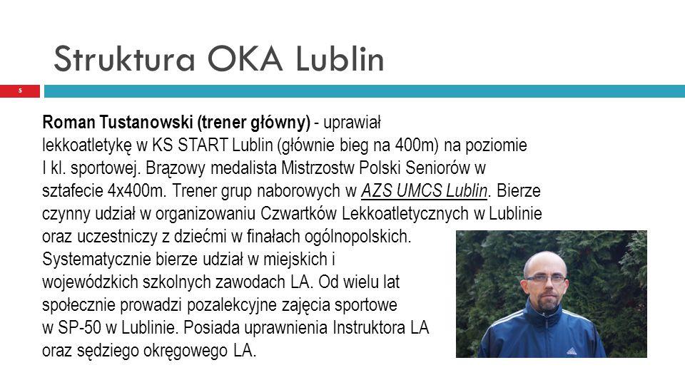 Struktura OKA Lublin 5 Roman Tustanowski (trener główny) - uprawiał lekkoatletykę w KS START Lublin (głównie bieg na 400m) na poziomie I kl. sportowej