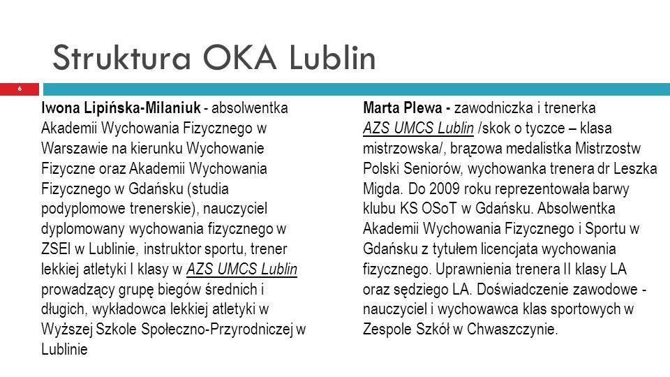 Struktura OKA Lublin 6 Iwona Lipińska-Milaniuk - absolwentka Akademii Wychowania Fizycznego w Warszawie na kierunku Wychowanie Fizyczne oraz Akademii
