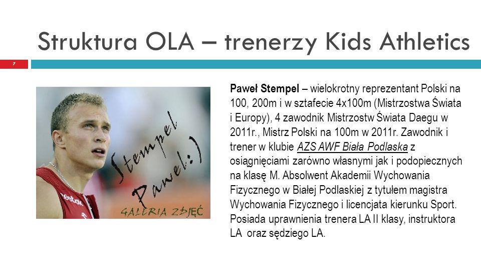 Struktura OLA – trenerzy Kids Athletics 7 Paweł Stempel – wielokrotny reprezentant Polski na 100, 200m i w sztafecie 4x100m (Mistrzostwa Świata i Euro