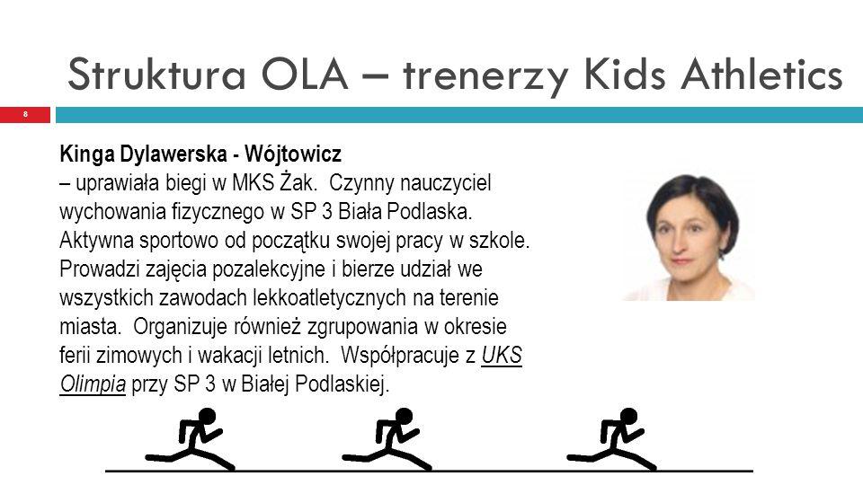 Struktura OLA – trenerzy Kids Athletics 8 Kinga Dylawerska - Wójtowicz – uprawiała biegi w MKS Żak. Czynny nauczyciel wychowania fizycznego w SP 3 Bia