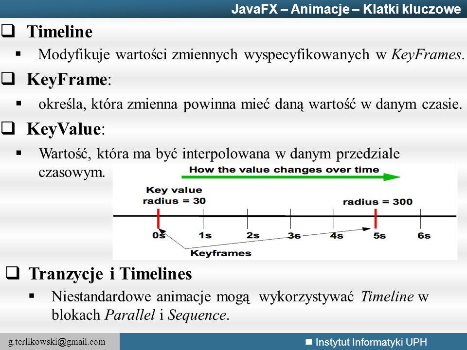 g.terlikowski @ gmail.com Instytut Informatyki UPH  Timeline  Modyfikuje wartości zmiennych wyspecyfikowanych w KeyFrames.  KeyFrame:  określa, kt