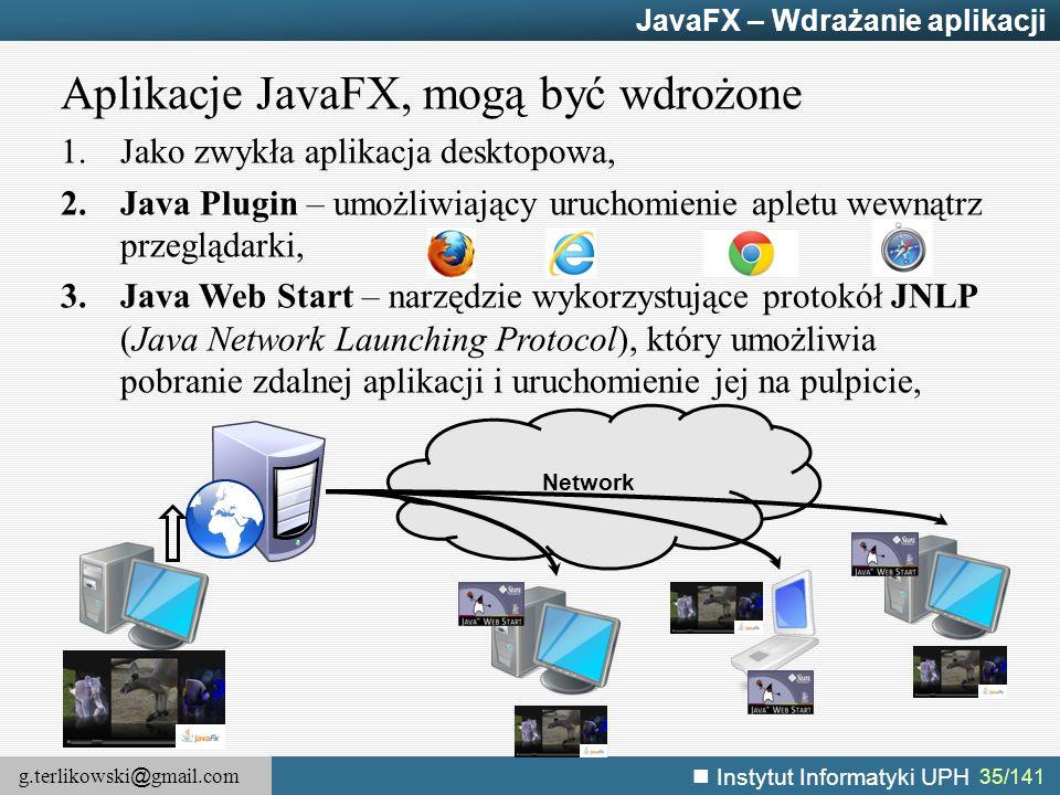 g.terlikowski @ gmail.com Instytut Informatyki UPH 35/141 JavaFX – Wdrażanie aplikacji Aplikacje JavaFX, mogą być wdrożone 1.Jako zwykła aplikacja des